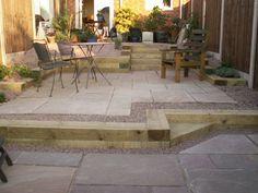 48 Trendy ideas for gravel patio railway sleepers Patio Edging, Gravel Patio, Concrete Patio, Garden Edging, Backyard Garden Design, Garden Landscape Design, Backyard Patio, Yard Design, House Design