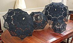 "Lace parasols. Made with battenburg lace. White OR Black color lace parasol. Sizes. 8"" (16""), 12"" (24""), 15"" (30""), 17.5"" (35"")"