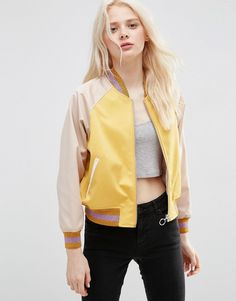 Buy ASOS Bomber Jacket in cropped Length with Metallic Trim at ASOS. Get the latest trends with ASOS now. Blazers For Women, Jackets For Women, Ladies Jackets, Jackets Uk, Bomber Jackets, Outerwear Jackets, Asos, Boucle Jacket, Cropped Hoodie