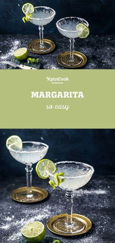Party Drink Recipe: Margarita. One of our favorite drinks are definitely margaritas! The sour taste of the limes fits just perfect to the tequila. Moreover, the salt on the glass rim makes the whole just perfect! This quick and easy drink makes you the man/woman of the evening! #kptncook