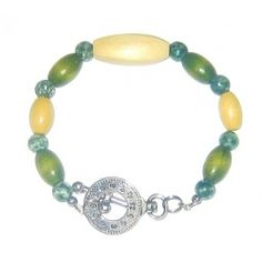 Olive Green and Beige Men's Bracelet by AngieShel Designs, LLC at www.angiesheldesigns.com