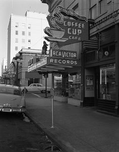 Coffee Cup Cafe and records, perfect. Old Pictures, Old Photos, Vintage Photos, Coffee Cup Cafe, Coffee Cups, Coffee Shop, Coffee Time, Vancouver, Advertising Signs
