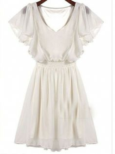 Elegant Butterfly Sleeve Elastic Waist Pure Color Women's Summer Chiffon Casual Dress