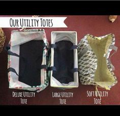 A great way to see the difference in the utility totes! Go to my Facebook page, All About Thirty One-Courtney West and check these out!