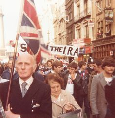 Veterans, elderly ladies and young men on the Anti IRA march, September 1979.