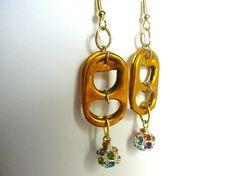 Pull tab and bead earrings