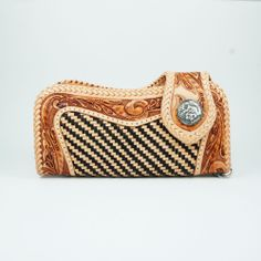 HAND CARVING BRAID COW LEATHER HANDCRAFTED Men's BIKER BIFOLD LONG WALLET a-w003