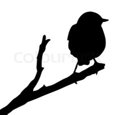 Stock vector of 'vector silhouette of the bird on branch'