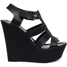 Steve Madden Women's Bessa Platform Wedges ($80) ❤ liked on Polyvore featuring shoes, sandals, caged shoes, roll up shoes, steve madden sandals, high heel platform shoes and summer shoes