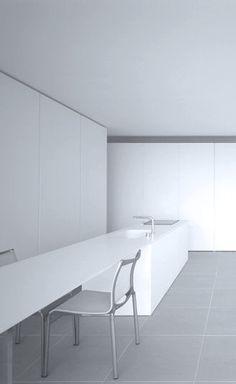 Katsufumi Kubota | T House | Kanagawa, Japan Bright Kitchens, Modern Kitchens, Kitchen Dining, Dining Table, Kitchen Island, Simply Home, Minimal Kitchen, Kubota, Modern Spaces
