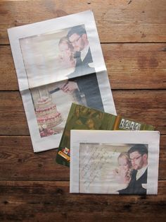 Thank-you cards done as newspapers! This is such a great idea!