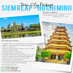SIEM REAP - HO CHI MINH TWIN CITY PACKAGE (LAND ARRANGEMENT ONLY) Minimum of 2 persons  For more inquiries please call: Landline: (+63 2)282-6848 Mobile: (+63) 918-238-9506 or Email us: info@travelph.com #SiemReap #HoChiMinh #TravelPH #TravelWithNoWorries Siem Reap, Ho Chi, Twin Cities, Angkor, Travel Agency, Cambodia, Tours, City, Cities