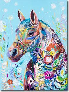Dandelion Horse, Starla Halfmann, oil, print, giclee, fine art, skyline, horse