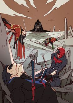 Its not just them dying Nightwing has his staffs impaling him it looks almost like the red hood was shot. I think they where killed by the I brown weapons of choice. Nightwing, Batgirl, Catwoman, Heros Comics, Dc Comics Art, Dc Heroes, Robin Dc, Batman Robin, Batman Batman