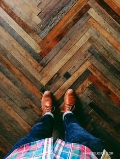 Repurposed wood chevron floor. This would be very interesting to figure out a way to re-purpose the woods at the recycling center.