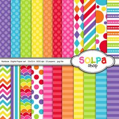 rainbow digital paper printable scrapbook papers by Solpashop