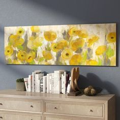 East Urban Home 'Floating Yellow Flowers I' Painting Print on Canvas East Urban Home – Schwimmende gelbe Blumen I –. Yellow Painting, Painting Prints, Watercolor Paintings, Canvas Prints, Yellow Wall Art, Painting Canvas, Canvas Canvas, Flower Graphic, Graphic Art