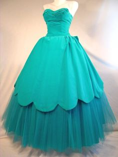 Vintage 50's Dress Party Prom Gown Wedding Dance Formal Ruched Shelf Bust Full Skirt Strapless Ball Gown Turquoise Blue Velvet Tulle Cupcake Nipped Waist Back Bow Scalloped Skirt