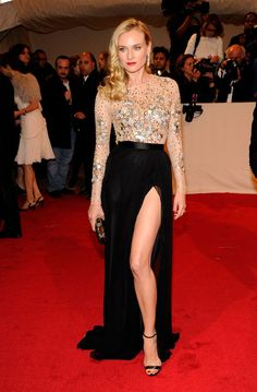 Pin for Later: Diane Kruger's Red Carpet Style Is So Stunning, We Can Hardly Believe She's Real  Diane rocked embellished Jason Wu — and a thigh-high slit — at the Met Gala in May 2011.