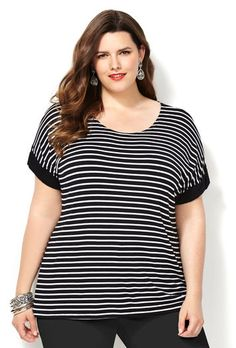Striped Dolman Cuff Tee-Plus Size Tee-Avenue Plus Size Tees, Big Girl Fashion, Striped Tee, Modern Fashion, Black Stripes, Plus Size Outfits, Plus Size Women, Peplum, Tunic Tops