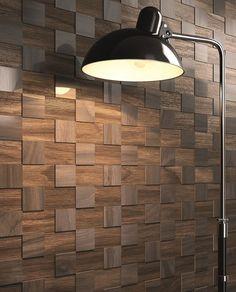 pared de combinacion de ceramica y madera: