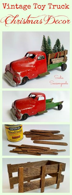 This Christmas Season, what could be cuter than an antique toy truck refurbished to haul bottlebrush Christmas trees? All hail the perfect vintage toy truck...once broken and discarded, now the perfect piece of holiday decor. Upcycling at its best from #SadieSeasongoods .