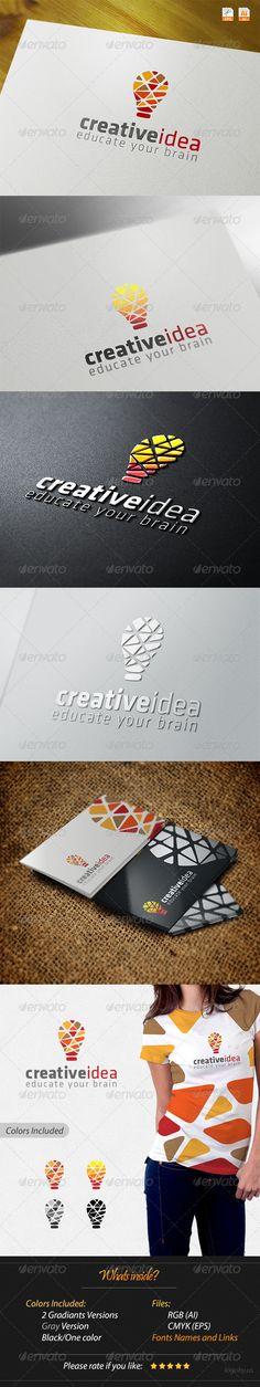 Creative Idea - Educate Your Brain Logo Design Template Vector #logotype Download it here: http://graphicriver.net/item/creative-idea-educate-your-brain/4252876?s_rank=557?ref=nexion