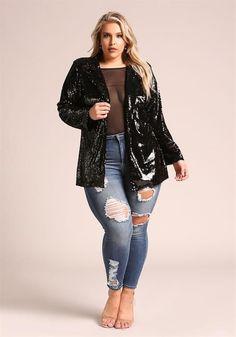 Plus Size Sequin Lapel Blazer