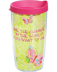 New Arrivals | Inspirational Butterflies - New 24oz | Wrap with Lid - Be the Change | Tumblers, Mugs, Cups | Tervis