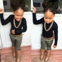 Her little outfit Cute Kids Fashion, Little Girl Fashion, Toddler Fashion, Toddler Outfits, Kids Outfits, Toddler Girls, Braids For Kids, Girls Braids, Kid Braids