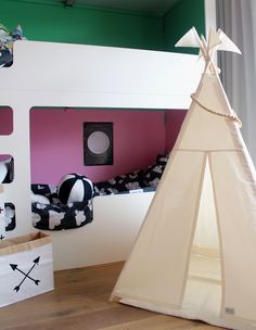 Play Teepee Tent - Plain cotton indoor play teepee tent by moozlehome on Etsy Wooden ball garland and paper sacks by http://monpetitzoreol.bigcartel.com/ Ball cushion by http://www.scenerylabel.com/