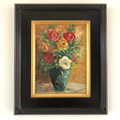 A blue vase sits abundant with mixed picking of colourful roses; this French painting has lovely visible textured brushstrokes and vibrant colour. Oil on masonite board, signed lower right. French Paintings, Floral Paintings, Colorful Roses, Brush Strokes, Beautiful Artwork, Wooden Frames, Candlesticks, Vintage Art, Still Life