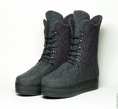 """Купить Валяные ботинки """"Блеск Обсидиана"""" - валяная обувь, антрацит, зимняя обувь"""