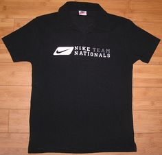 Nike White Tag Vintage Nike Town Nike Team Nationals Black Polo Shirt Size Small #Nike #PoloRugby