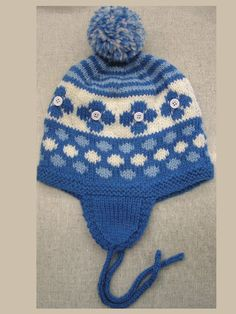 This is a winter warm earflap hat knit in the round. Fun, quick and easy to do. Included are 2 sizes-Children's small and medium. This easy knitting pattern is knitted with a worsted weight yarn for a