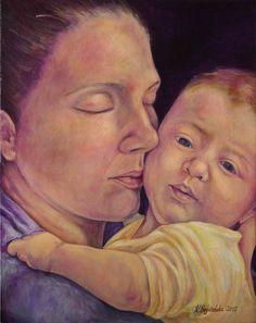 Krystyna Beata Bogdańska,  obraz malowany farbami akrylowymi na lnianym płótnie; werniksowany; wymiary  40 x 50 cm Macierzyństwo   zoom   digart.pl