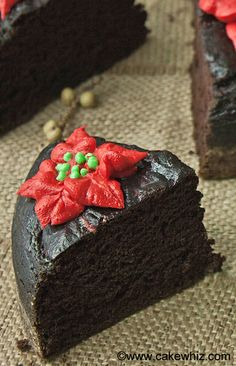 This delicious FAT FREE CHOCOLATE CAKE is made with no butter, no eggs and no oil. But, it's still soft and moist and tastes incredible! From cakewhiz.com