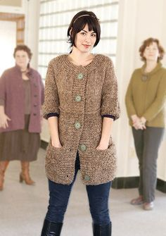 The Cumulus coat has deep pockets and wide garter button bands that are the perfect canvas for your largest buttons. Puffed elbow length sleeves and a faux Aran diamond add a touch of whimsy. Directions are for women's size X-Small. Changes for sizes Small, Medium, Large, 1X and 2X are in parentheses. INTERMEDIATE