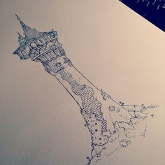 "jossehell: ""Drew Rapunzel's tower from Tangled :D "" (Wow! They did a great job!^)"