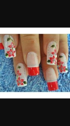 Flores rojas Flower Nails, Manicure, Nail Art, Beauty, Spa, Flowers, Work Nails, Templates, Trendy Nail Art
