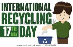 Banner with a young man disposing properly paper in the correct bin promoting International Recycling Day celebration in May Young Man, Celebration, Recycling, Royalty Free Stock Photos, Banner, Day, Pictures, Fictional Characters, Image