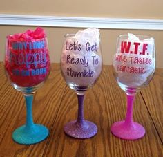 Custom Glitter Wine glasses Quotes. Monograms. by SayItWithStyleAL, $14.99  FREE SHIPPING