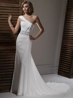 Wedding Dress Sheath Design e Pleating and Beading Chiffon OSW2088 $164
