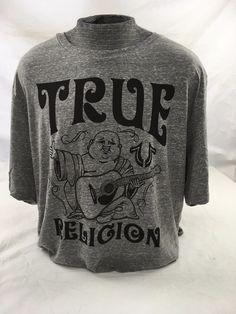 TRUE RELIGION JEANS Buddha Crew Graphic Logo T-shirt Top Shirt Grey Heather 4XL #TrueReligion #GraphicTee