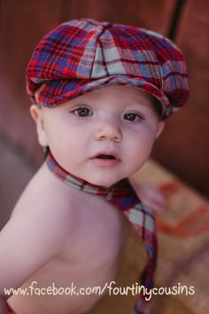 Baby Boy Neck Tie and Newsboy Hat. Classic Photo Prop.  Great for Holiday Photos. $50.00, via Etsy.