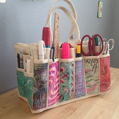 As I decorate decorated tool bags from Harbor Freight Tools on the Gelli Plate … - Fabric Craft Ideas Fabric Crafts, Sewing Crafts, Sewing Projects, Diy Crafts, Bag Patterns To Sew, Sewing Patterns, Tool Tote, Art Bag, Craft Bags
