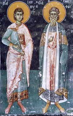 Synaxarion of the Holy Martyrs Onesiphoros and Porphyrios Byzantine Icons, Byzantine Art, Fresco, Tempera, Greek Icons, Russian Icons, Best Icons, Religious Icons, High Art