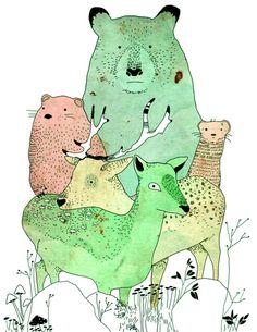 Animals & Mushrooms - Illustration by Lea Woodpecker