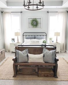 21 Rustic Farmhouse Bedroom Decor Inspiration Ideas We are working on a bedroom makeover and I found 21 amazing rustic farmhouse bedrooms for decor inspiration. Check out the post to see them all. Farmhouse Style Bedrooms, Farmhouse Master Bedroom, Rustic Bedrooms, Farmhouse Bedroom Furniture, Country Bedrooms, Shabby Chic Master Bedroom, Farmhouse Style Curtains, Peaceful Bedroom, Country Bedding