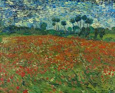 vincent van gogh poppy field 1890 Extremely Detailed Close Ups of Van Goghs Masterpieces